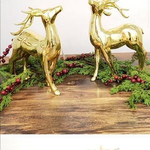 Standing gold ceramic shiny holiday deer